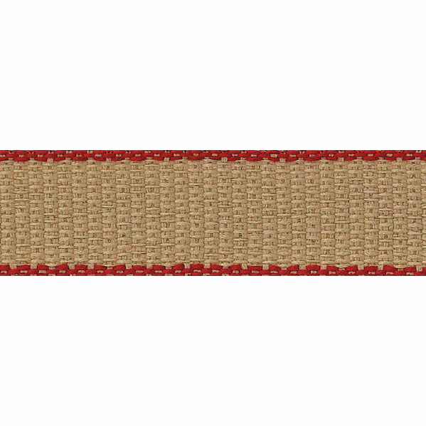Picture of Hopsack: 15m x 7mm: Natural / Red