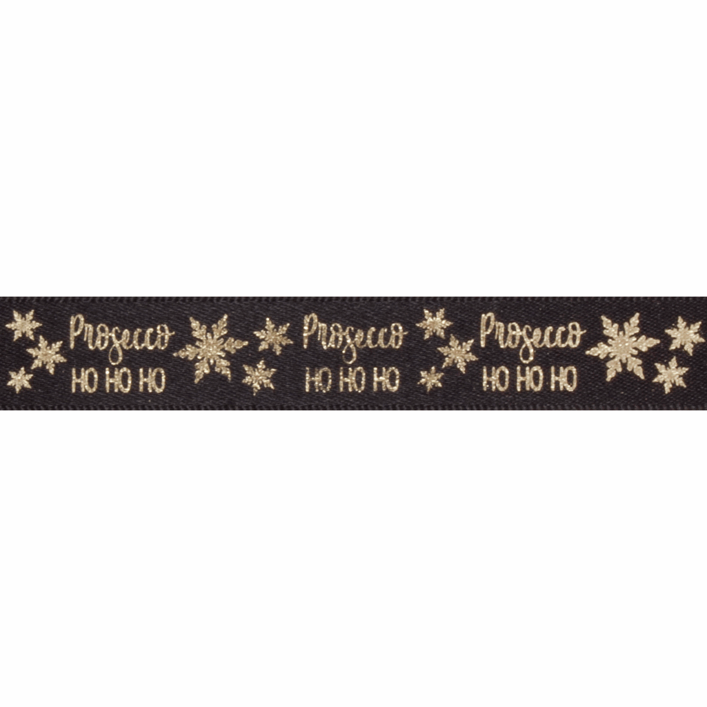 Picture of Exclusive to Groves: Metallic Prosecco Ho Ho Ho: 20m x 15mm: Black/Gold