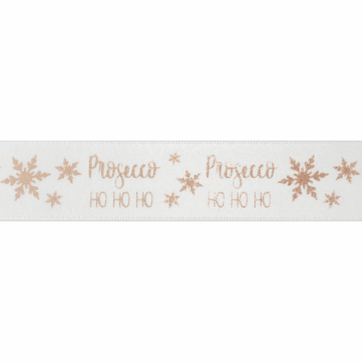 Picture of Exclusive to Groves: Metallic Prosecco Ho Ho Ho: 20m x 25mm: White/Rose Gold