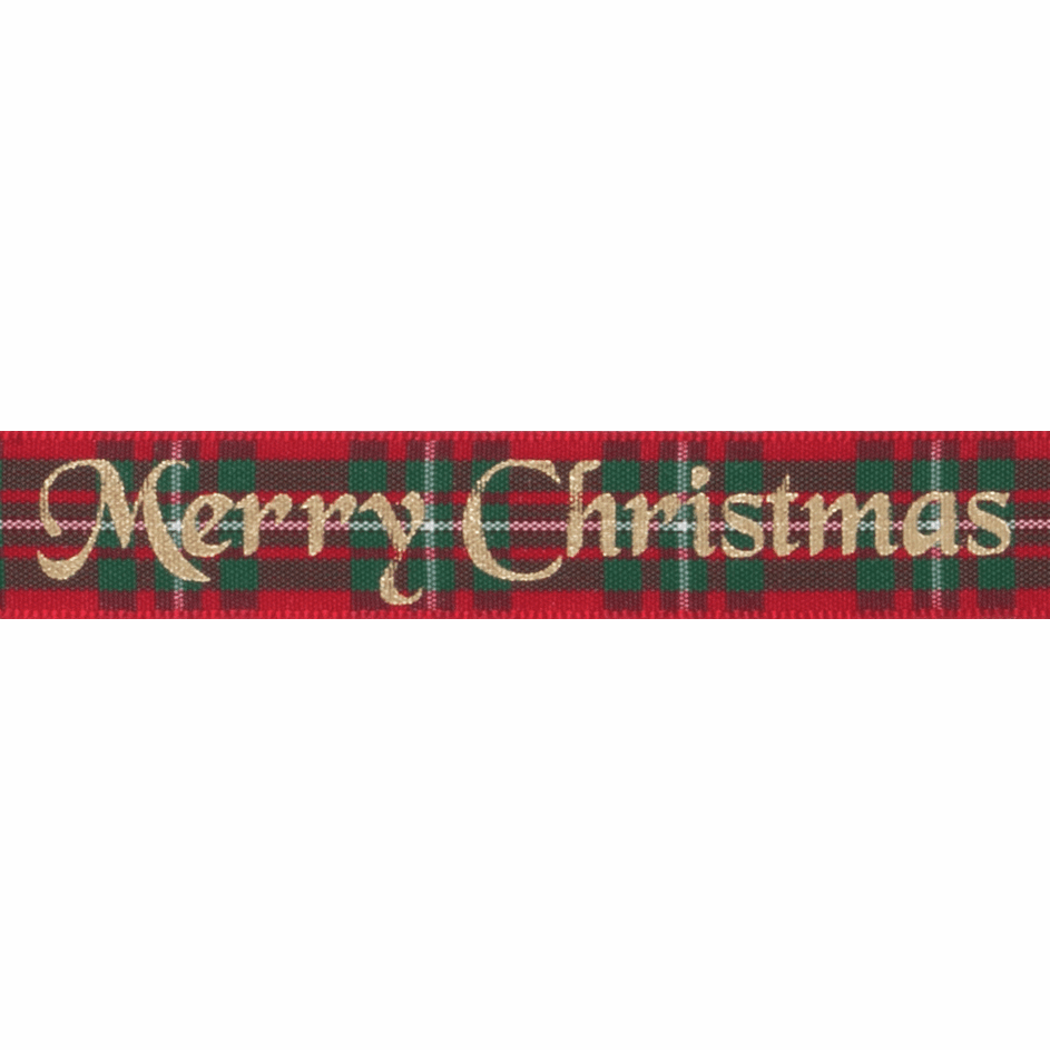 Picture of Exclusive to Groves: Tartan Metallic Merry Christmas: 25m x 16mm: Macgregor/Gold