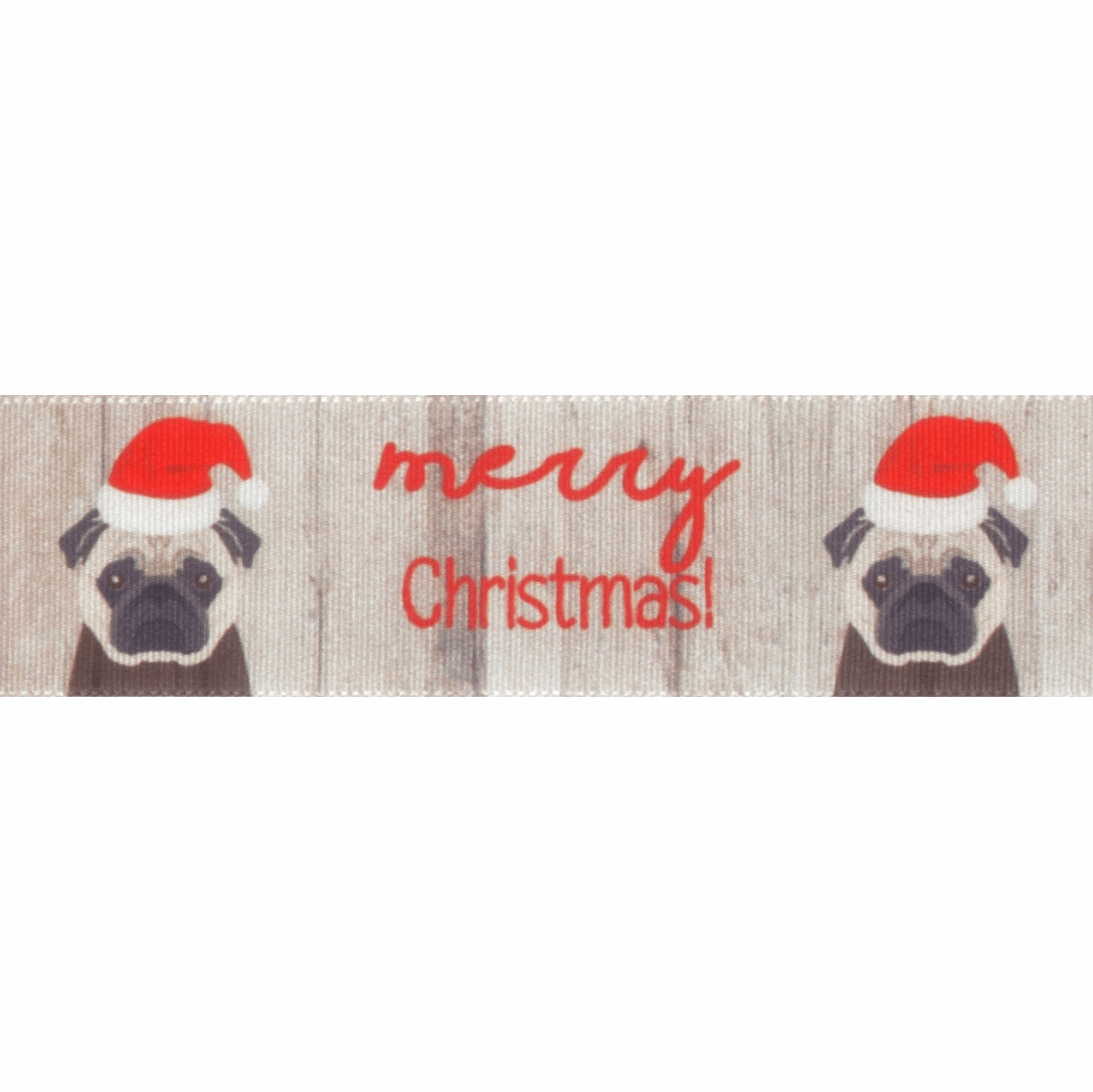 Picture of Exclusive to Groves: Merry Christmas Pug: 25m x 25mm: Multi