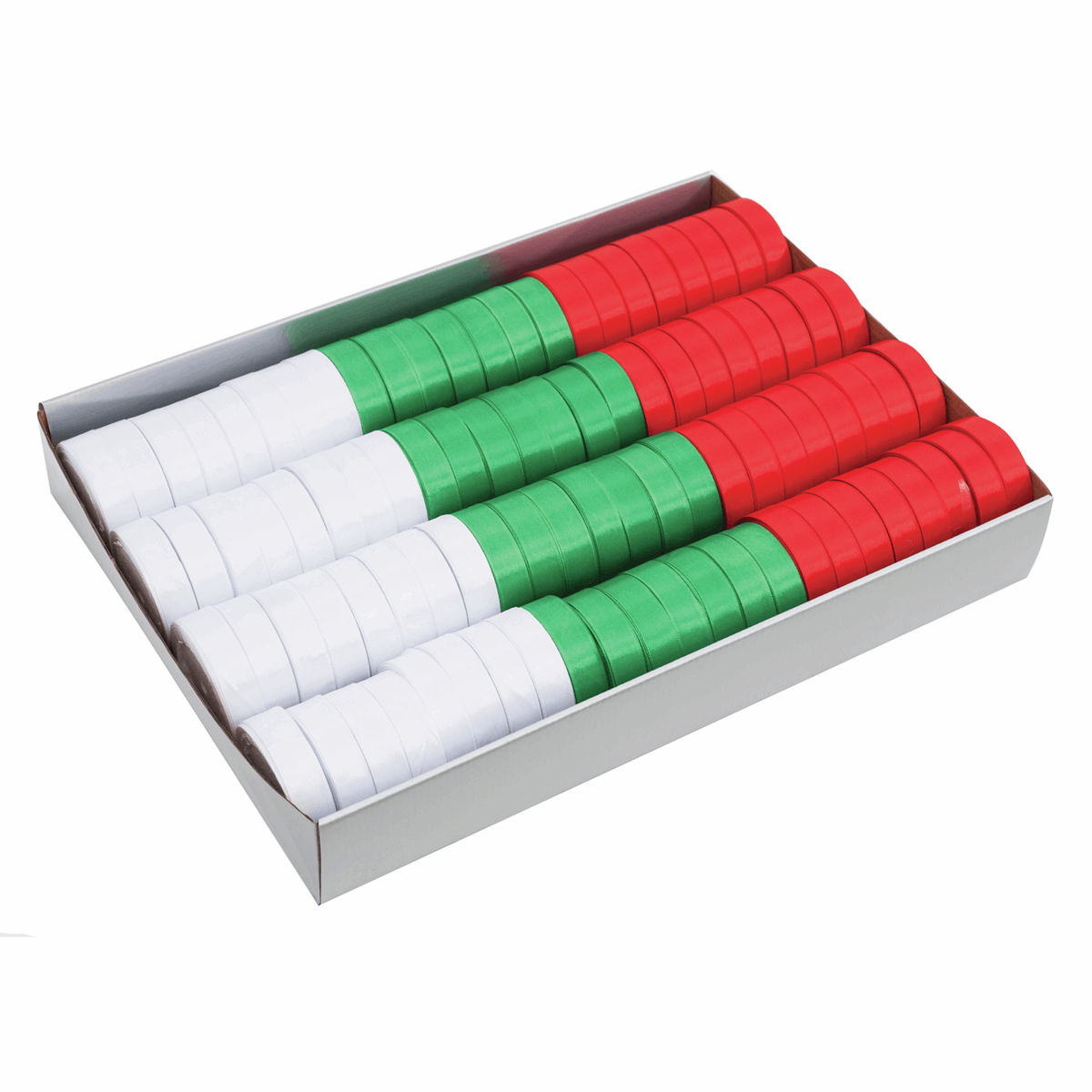 Picture of Christmas Ribbon CDU: Satin: 15m x 20mm: Assorted Colours: 92 Reels