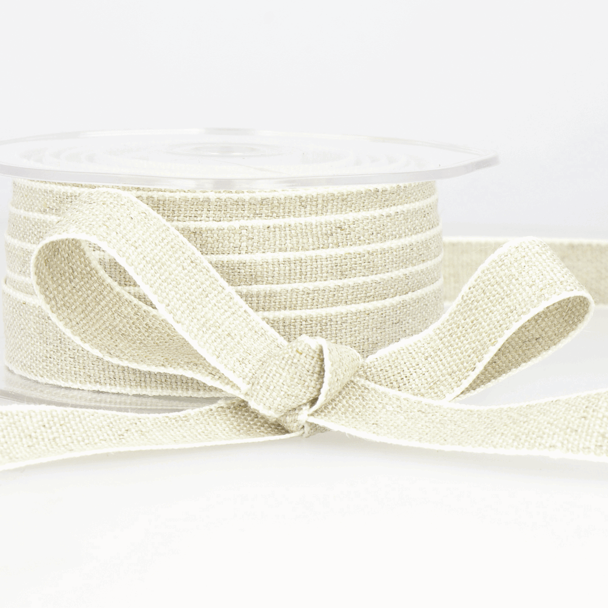 Picture of Ribbon: Linen: 15m x 10mm: Linen White