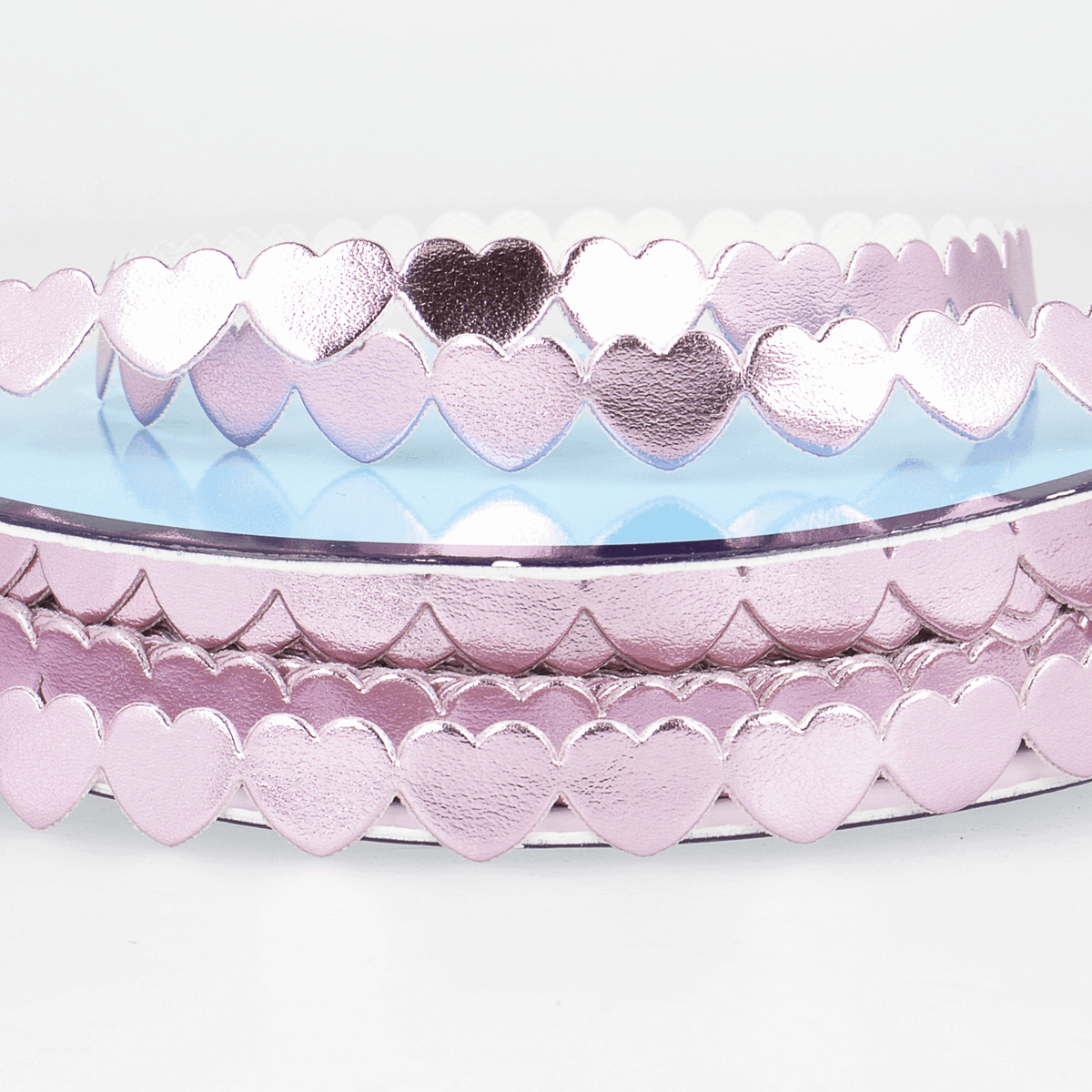 Picture of Trim: Metallic Hearts: 25m x 9mm: Light Pink