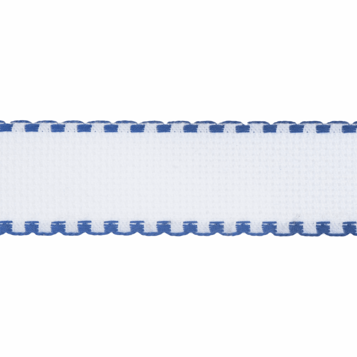 Picture of Needlecraft Fabric: Aida Band: 16 Count: 8m x 30mm: White/Royal Blue Edging