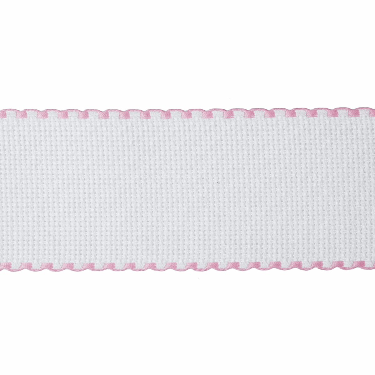 Picture of Needlecraft Fabric: Aida Band: 16 Count: 8m x 50mm: White/Pink Edging
