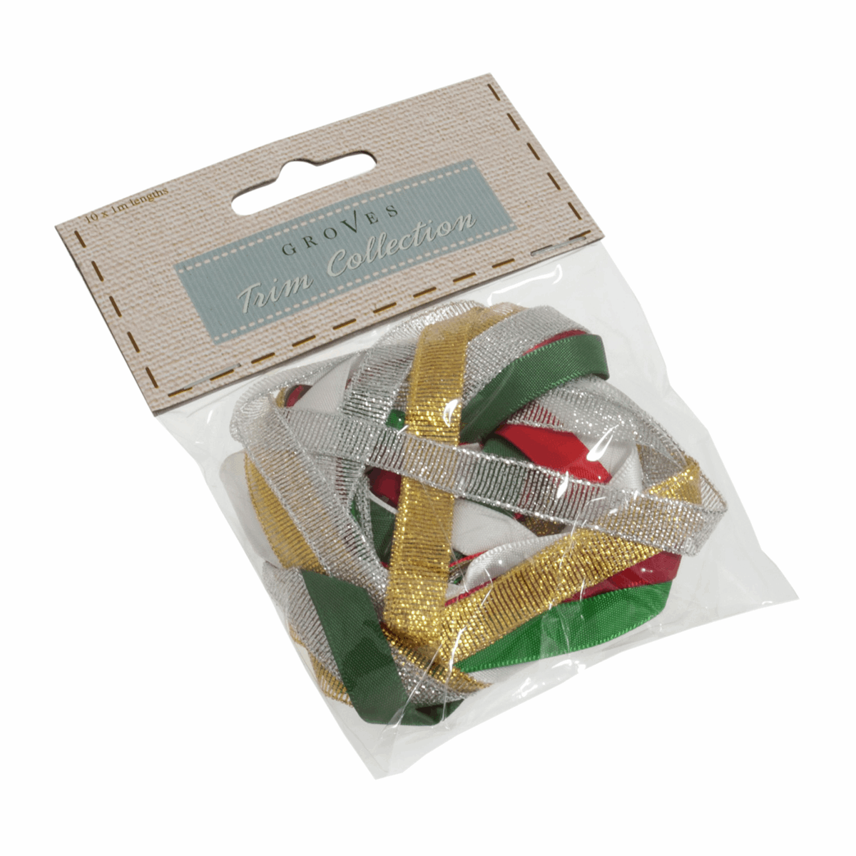 Picture of Assorted Christmas Ribbon Pack: 10 x 1m: Multi