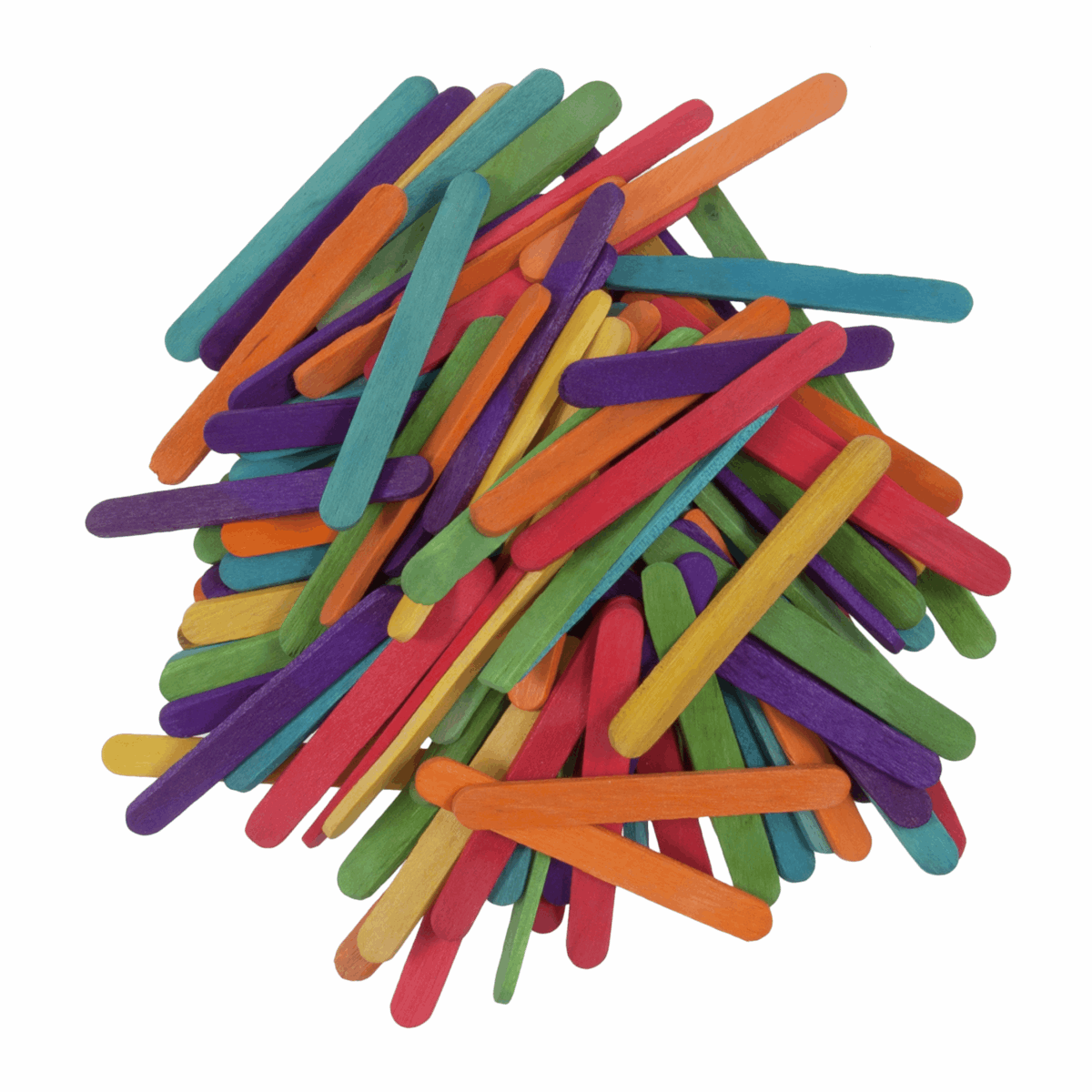Picture of Lollypop Sticks: Wooden: Mini: 55 x 5.5 x 2mm: Multi Coloured: Pack of 300