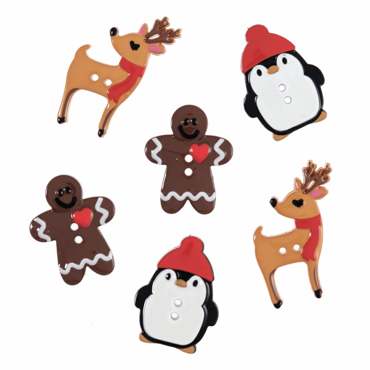 Picture of Buttons: Christmas: Assorted: 6 Pieces