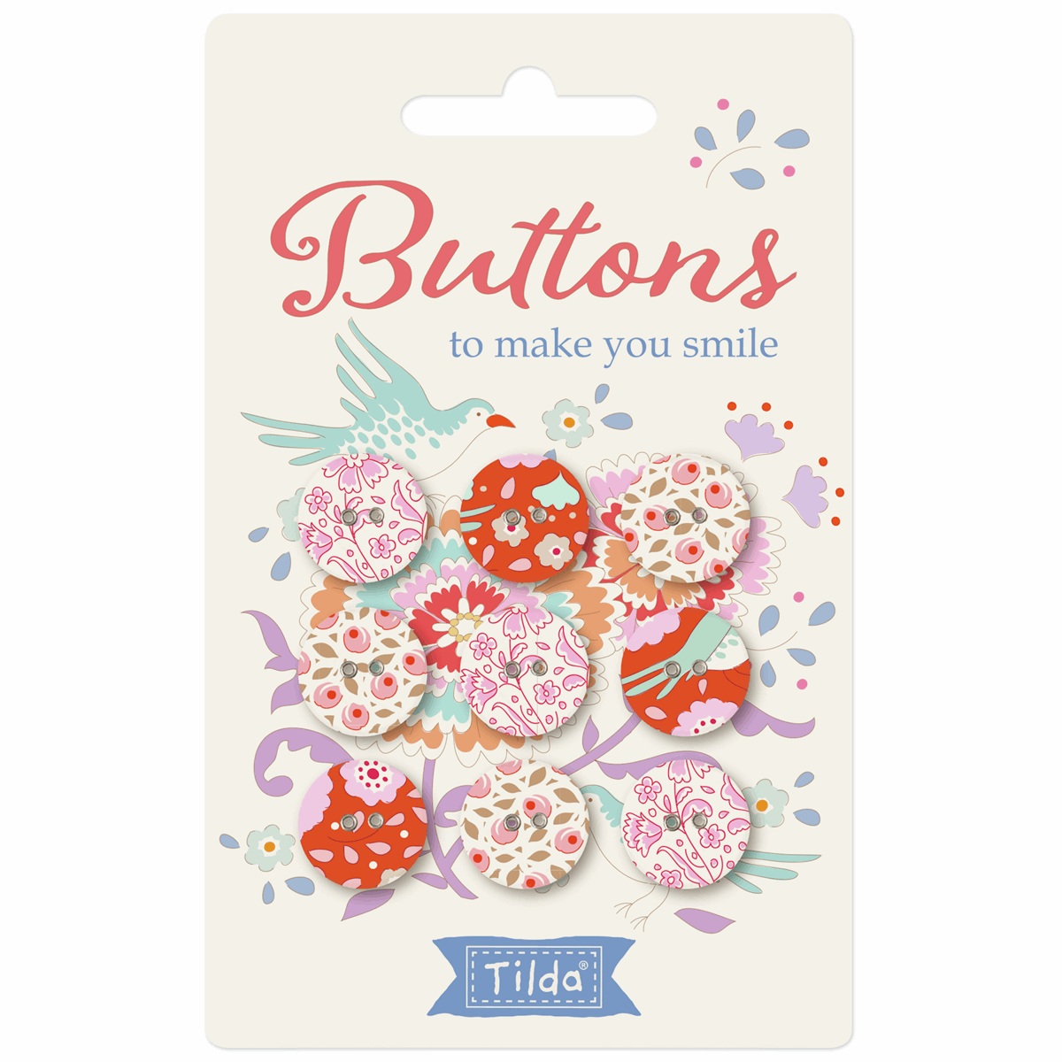 Picture of BirdPond: Buttons: Fabric Covered: 15mm: Pack of 9