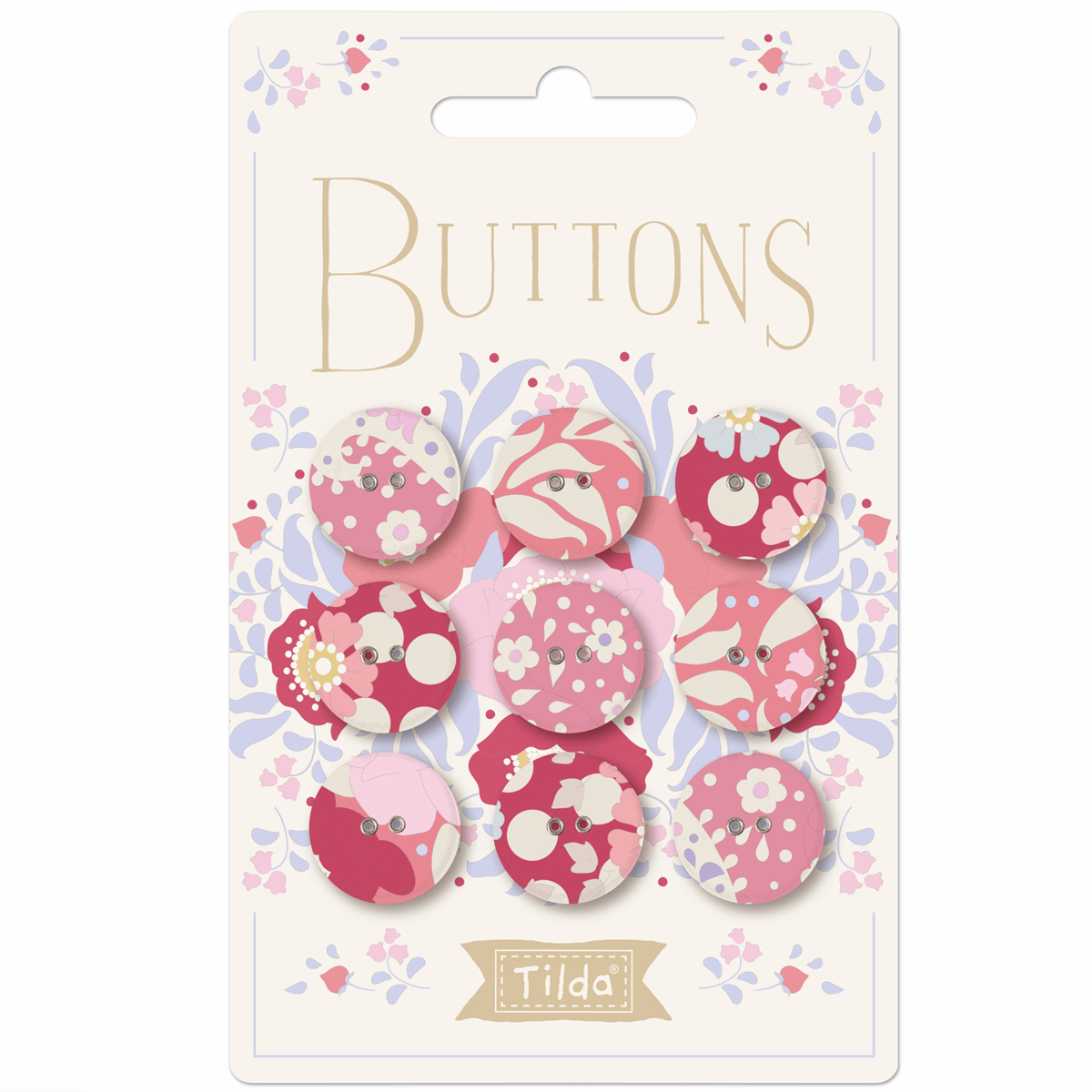 Picture of Plum Garden Buttons: Fabric Covered: 17mm: Pack of 9