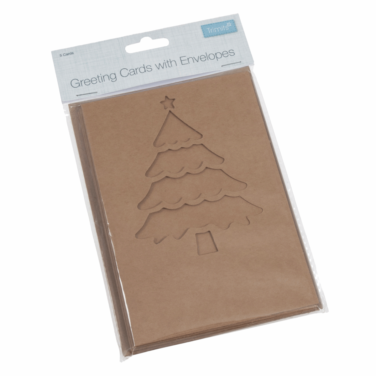 Picture of Kraft Cards with Envelopes: Christmas Tree: 5 Pieces