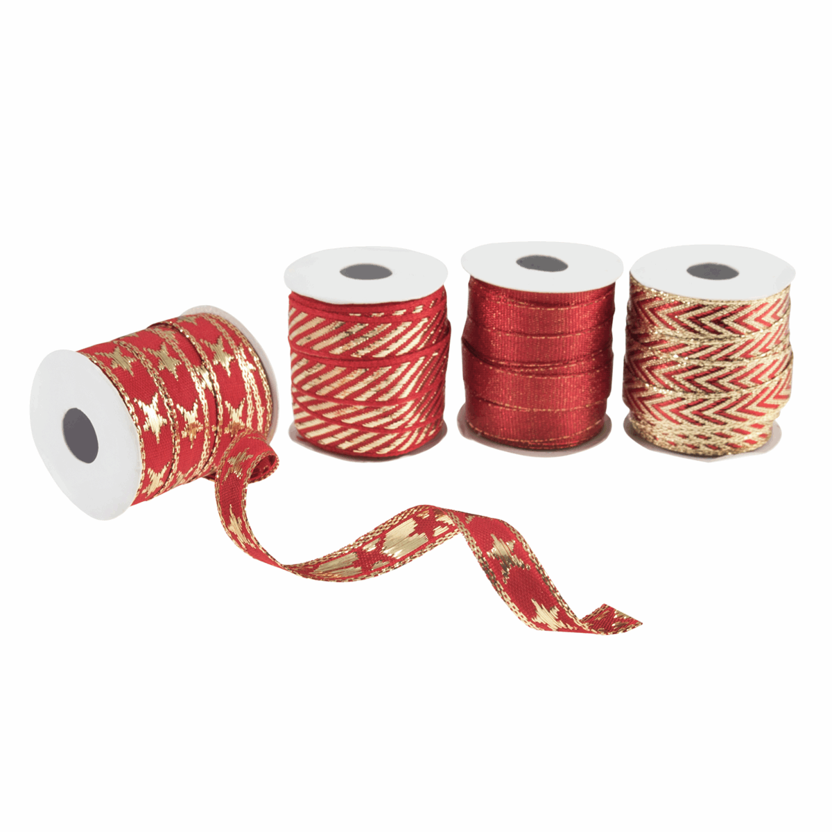 Picture of Ribbon Bag: Red and Gold: 3m x 10mm: 4 Pieces