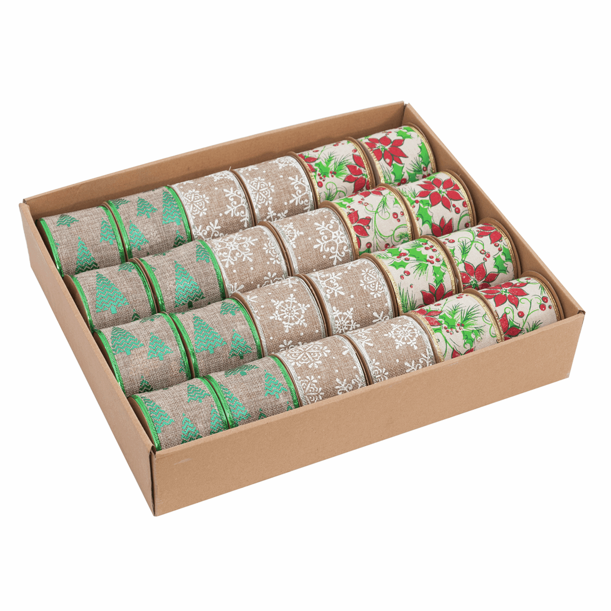 Picture of Christmas Ribbon CDU: Wire-Edge: 3 Assorted Designs: 2.7m x 63mm: 24 Reels