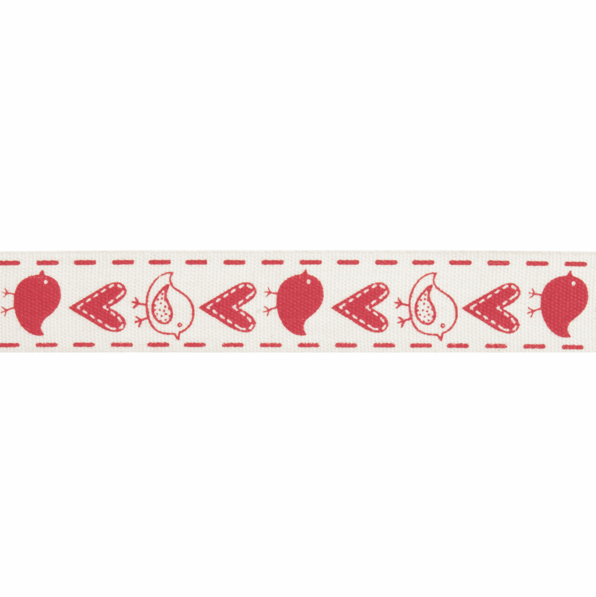 Picture of Natural: 5m x 15mm: Birds & Gifts: Red