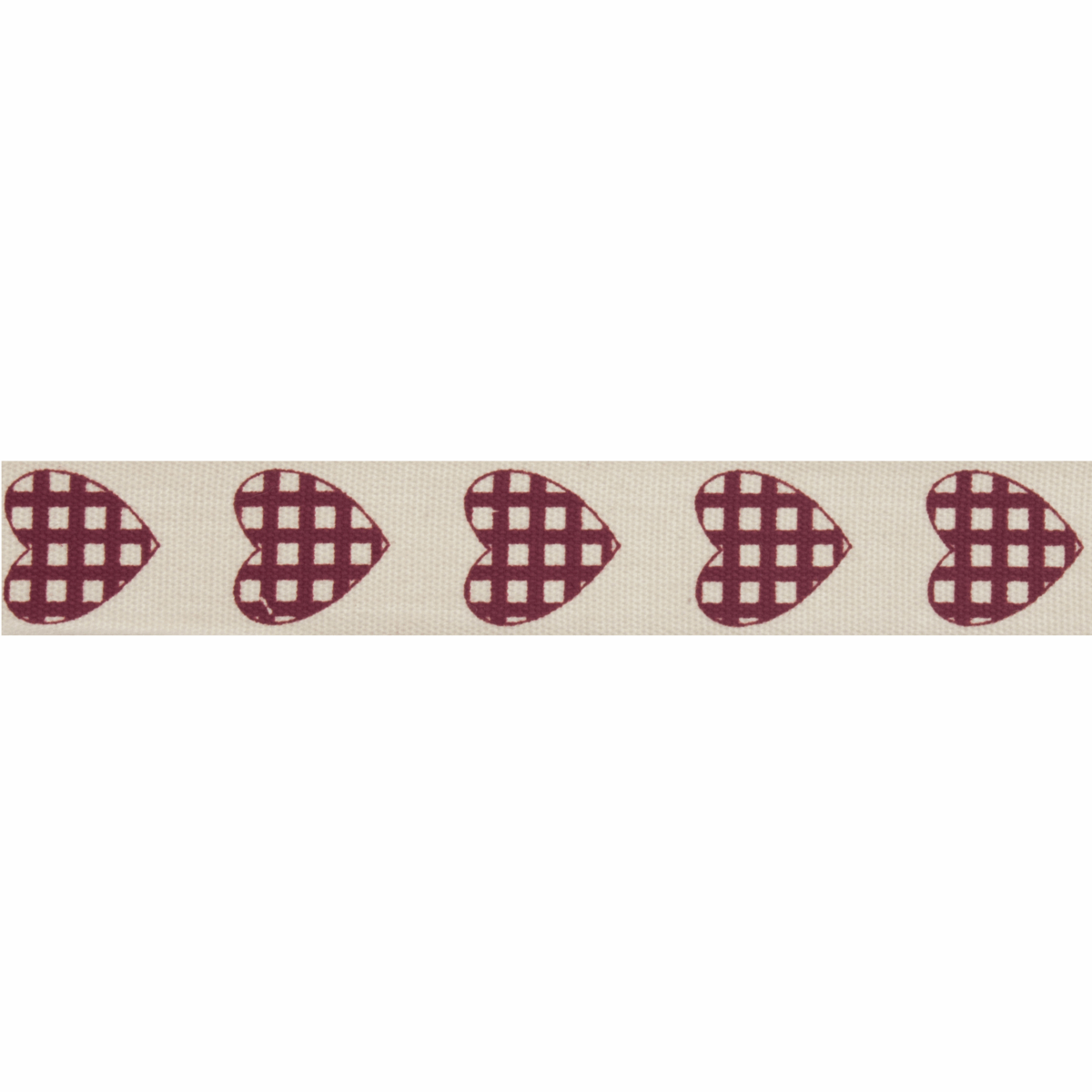 Picture of Natural: 5m x 15mm: Check Heart: Dark Red