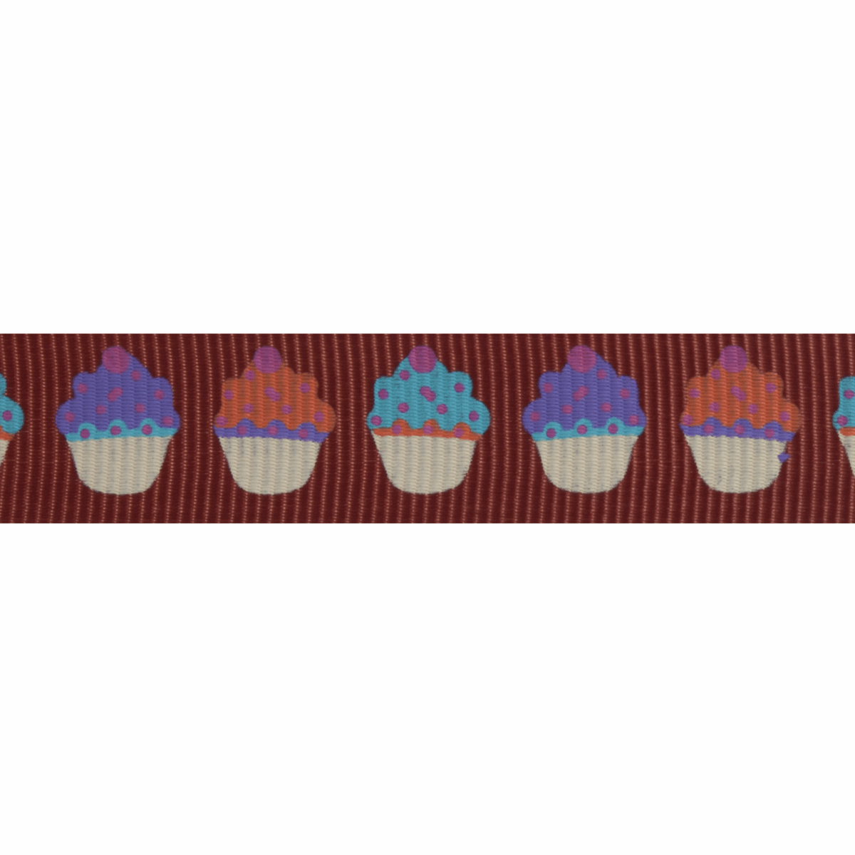 Picture of Grosgrain: 5m x 15mm: Cupcakes: Chocolate Brown