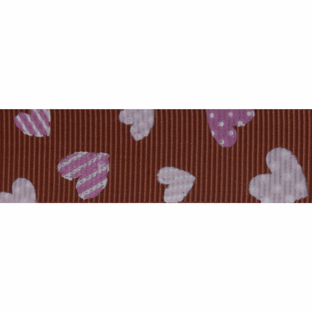 Picture of Grosgrain: 5m x 20mm: Pink Hearts: Chocolate Brown