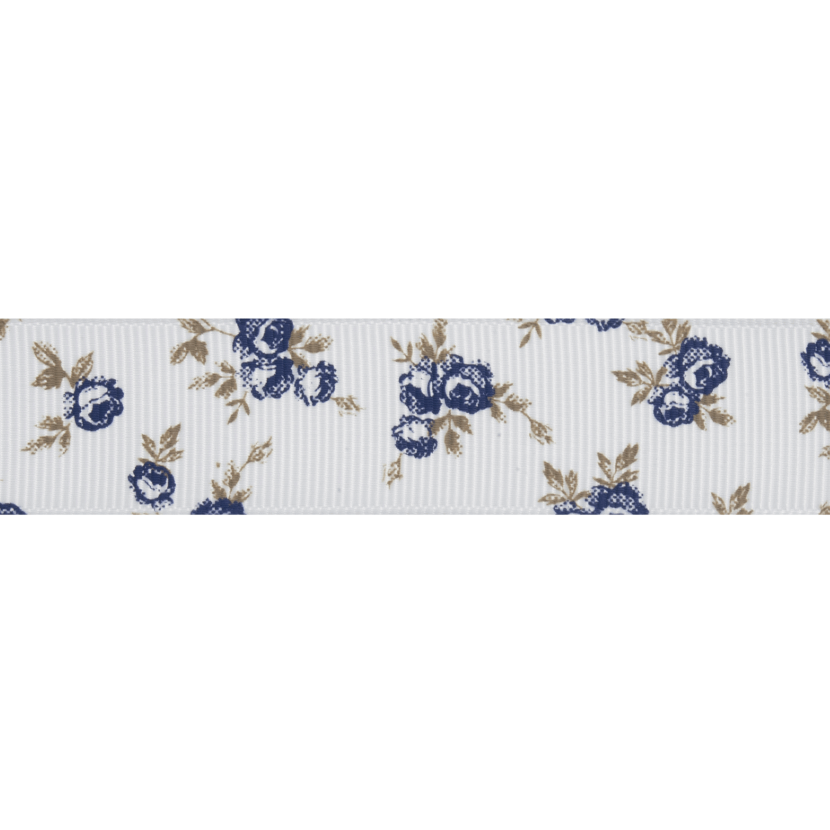 Picture of Grosgrain: 5m x 22mm: Navy Rose: White