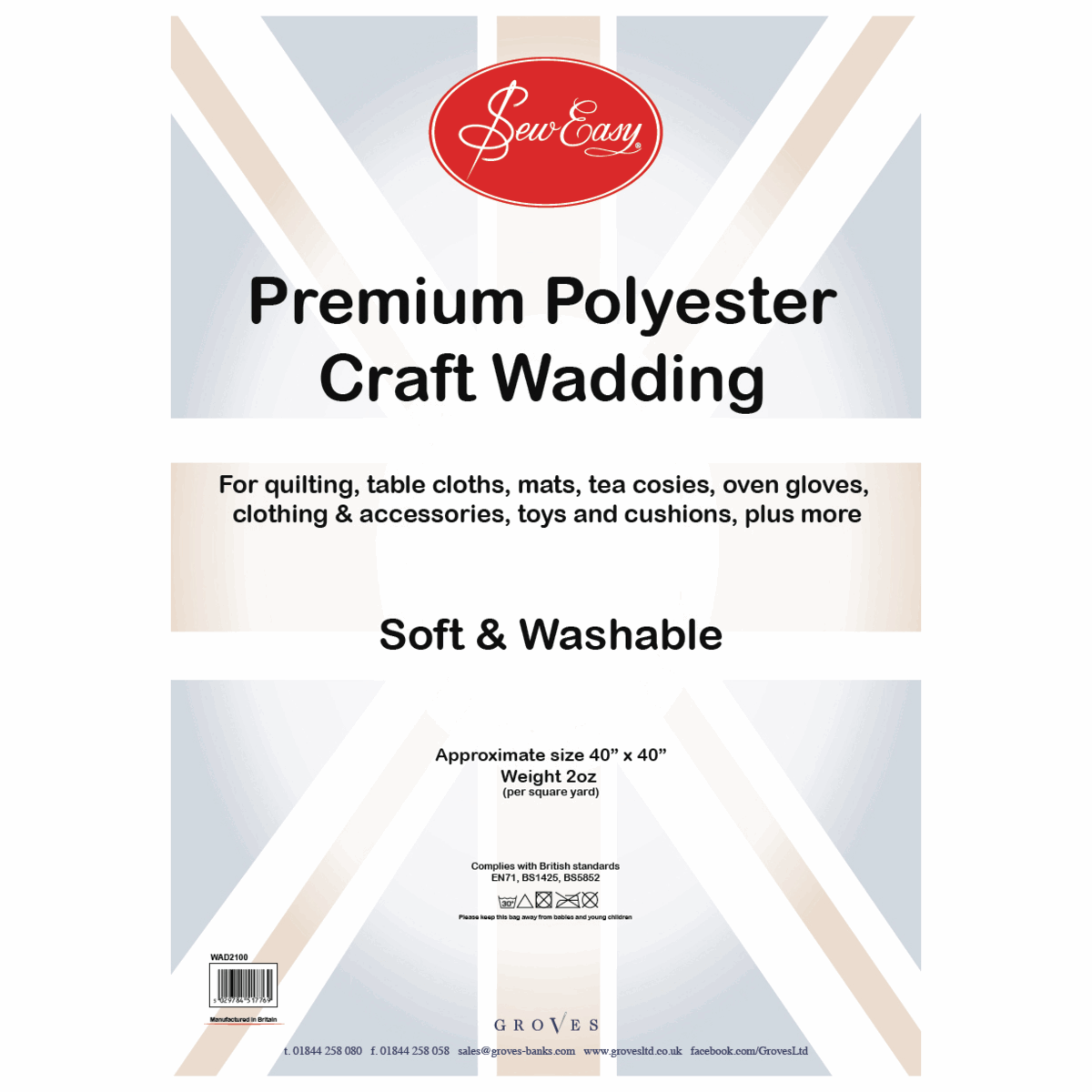 Picture of Poly Wadding: 2oz: 100 x 100cm (40in)