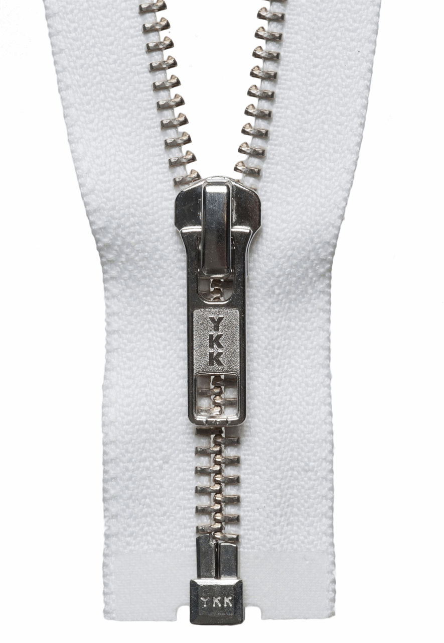 Picture of Nickel Free Metal Open End Zip: 41cm: White