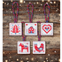 Picture of Counted Cross Stitch Kit: Christmas Tag/Decorations: Red/Blue