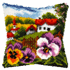 Picture of Latch Hook Kit: Cushion: Large: Landscape with Pansies